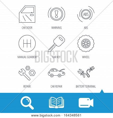 Car key, repair tools and manual gearbox icons. Wheel, warning ABS and battery terminal linear signs. Video cam, book and magnifier search icons. Vector