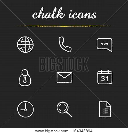 Digital chalk icons set. Worldwide globe sign, handset, chat bubble, admin user, sms, calendar, time, search and document symbols. Isolated vector chalkboard illustrations
