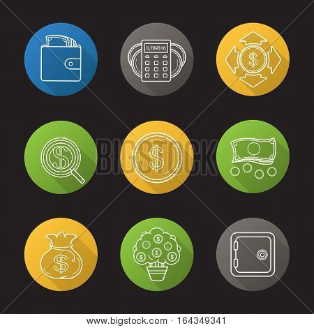 Banking and finance flat linear long shadow icons set. Purse with cash, money spending calculations, investor search, dollar coins and cash stack, bank vault, money bag and tree. Vector line symbols