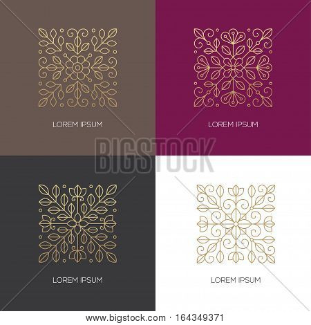 Set of four geometric square floral emblems in golden colors. Can bu used for beauty salon spa cosmetics or luxury logo design concept