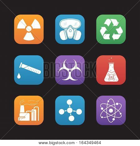 Chemical industry flat design icons set. Gas mask, chemical test tube, danger poison liquid, factory pollution. Biohazard, recycle and molecule symbols. Web application interface. Vector illustrations