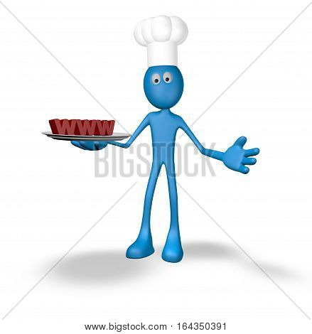 cook cartoon guy with www on plate - 3d illustration