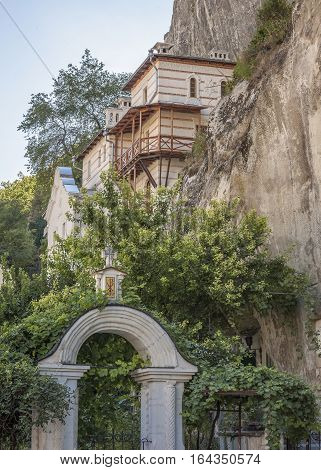 Bakhchisaray Crimea Russia . Holy - Assumption Orthodox cave Monastery . Abbot House built in the middle of the XIX century.