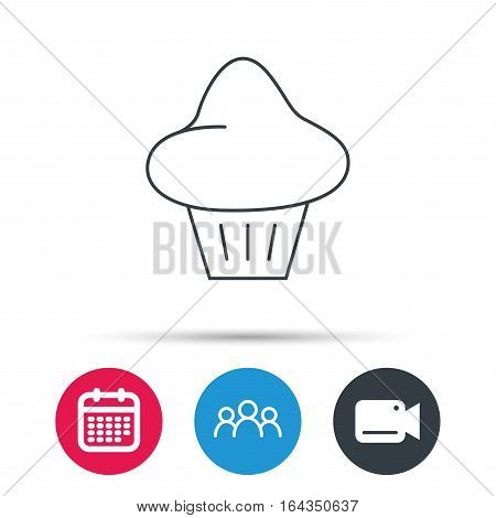 Brioche icon. Bread bun sign. Bakery symbol. Group of people, video cam and calendar icons. Vector