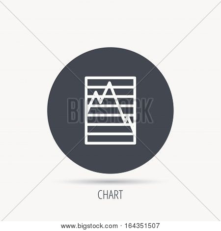 Chart curve icon. Graph diagram sign. Demand reduction symbol. Round web button with flat icon. Vector