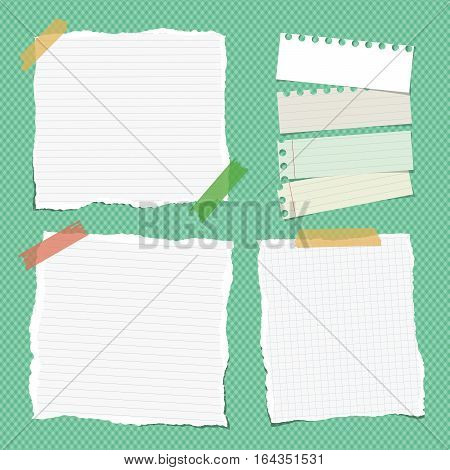 Ripped white ruled note, notebook, copybook paper sheets stuck with colorful sticky tape on bright green squared pattern.