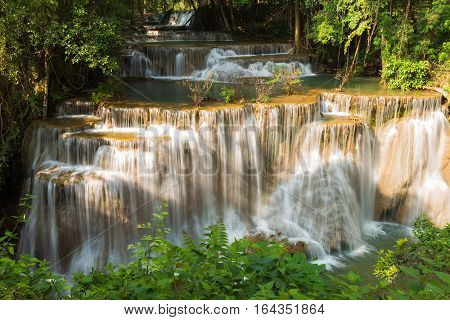 Deep forest waterfall in national reserved forest of Thailand
