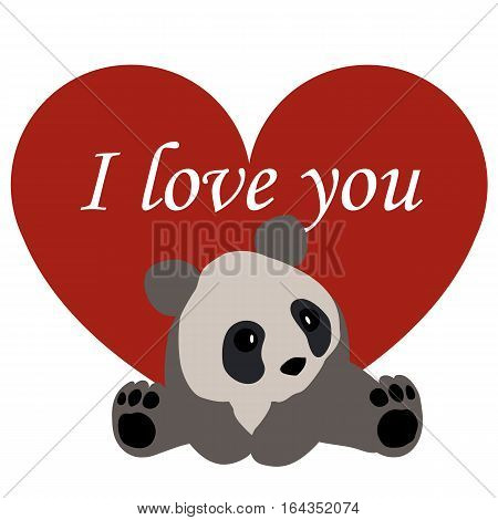 postcard Valentine's day. red heart and Panda. with the words I love you. template for greeting card on Valentine's day or baby shower or arrival. vector illustration