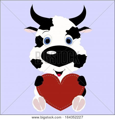 icon cute cow calf holding a red heart frame on a blue background.template for greeting card on Valentine's day or baby shower or arrival. vector illustration