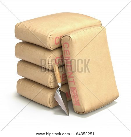 Cement bags with trowel on white background - 3D illustration