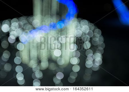 Festive Bokeh - White Lights With Lapis Blue Line