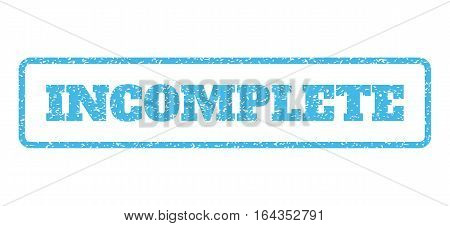 Light Blue rubber seal stamp with Incomplete text. Vector tag inside rounded rectangular shape. Grunge design and dust texture for watermark labels. Horisontal sticker on a white background.