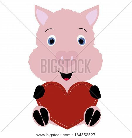 icon cute pig holding a red heart frame on a white background. template for greeting card on Valentine's day or baby shower or arrival. vector illustration