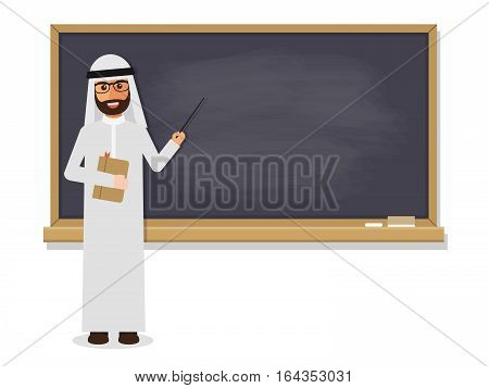Senior Arab teacher muslim professor standing in front of blackboard teaching student in classroom at school college or university. Flat design people characters.