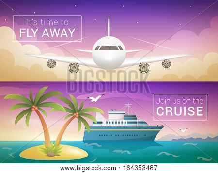 Vector travel banners set. Passenger airplane in the clouds., ocean sea cruise liner to the islands at sunset