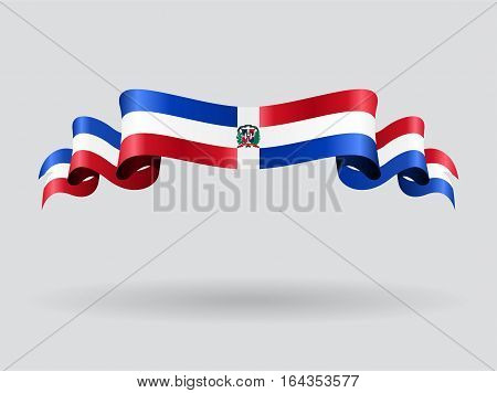 Dominican Republic flag wavy abstract background. Vector illustration.