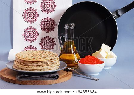 pancakes with toppings for card on  pancake-week