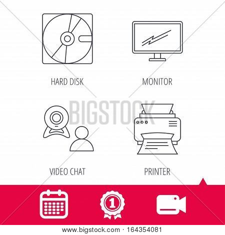 Achievement and video cam signs. Monitor, printer and video chat icons. Hard disk linear sign. Calendar icon. Vector