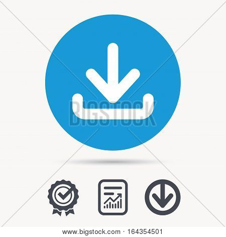 Download icon. Load internet data symbol. Achievement check, download and report file signs. Circle button with web icon. Vector
