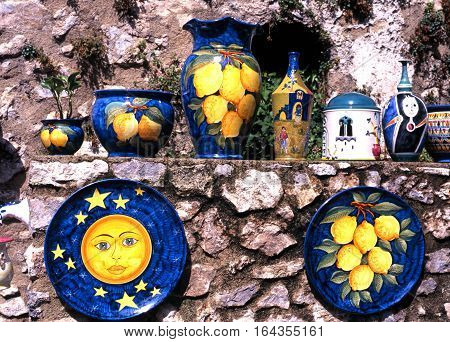 RAVELLO, ITALY - SEPTEMBER 23, 1996 - Traditional Italian pottery displayed outside a gift shop in the town square Ravello Amalfi Coast Italy Europe, September 23, 1996.