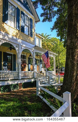 Fernandina Beach, FL, USA - Sept 7: Patriotic home on the corner of South 3rd and Ash Street in the historic district of Fernandina Beach City in Florida