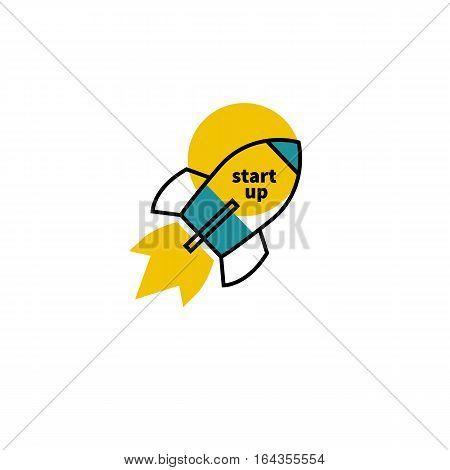 Icon start up. Logo of flying rocket. Business concept. Vector illustration.