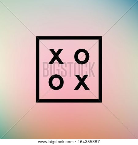 Romantic love XOXO minimal logo in outline frame, vintage modern label on geometric background. Retro package template. Trend layout, art print. Valentine day greeting card