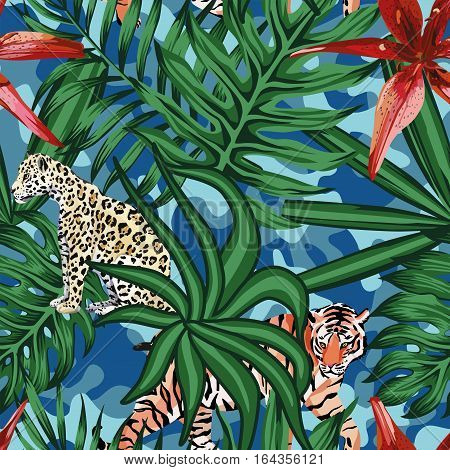 Composition of tropical leaf beautiful flower lily wild animals leopard and tiger. Seamless wallpaper pattern on a camo background