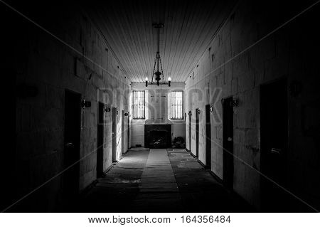 View on cell block in historic Port Arthur penal colony prison in Tasmania, Australia