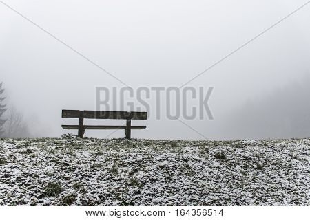 Bench Empty Seat In Wood Trees Winter And Fog 9