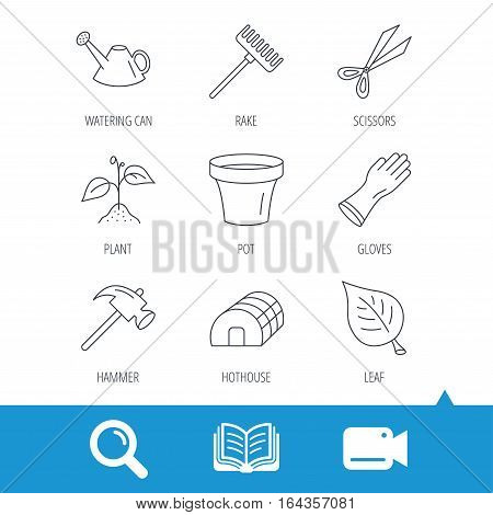 Sprout plant, scissors and pot icons. Gloves, rake and watering can linear signs. Hothouse, leaf and hammer flat line icons. Video cam, book and magnifier search icons. Vector