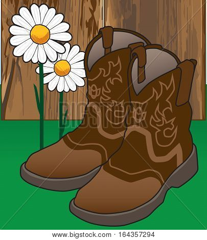 A pair of cowgirl boots is resting on the ground in front of a fence near some flowers