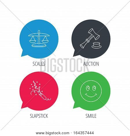 Colored speech bubbles. Scales of justice, auction hammer and slapstick icons. Smiling face linear sign. Flat web buttons with linear icons. Vector