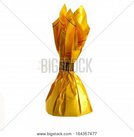 Yellow candy wrapper isolated on white background