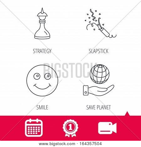 Achievement and video cam signs. Save planet, slapstick and strategy icons. Smile linear sign. Calendar icon. Vector