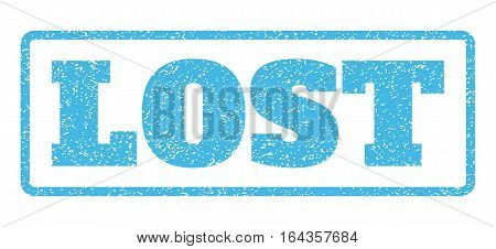 Light Blue rubber seal stamp with Lost text. Vector tag inside rounded rectangular frame. Grunge design and dust texture for watermark labels. Horisontal sticker on a white background.