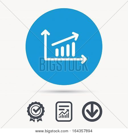 Growing graph icon. Business analytics chart symbol. Achievement check, download and report file signs. Circle button with web icon. Vector