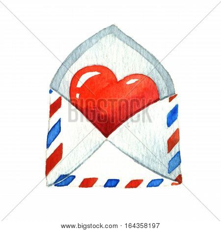Red Heart in the envelope. Watercolor illustration