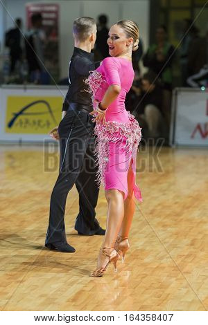 Riga Latvia-December 16 2016: Unidentified Dance Couple Performs Youth-2 Latin-American Program on the WDSF Baltic Grand Prix-2106 Championship in December 16 2016 in Riga Latvia.