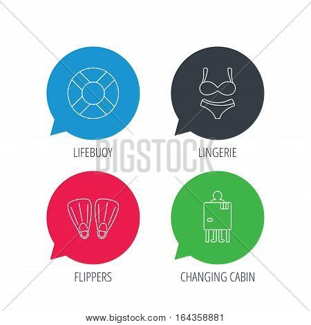 Colored speech bubbles. Lifebuoy, lingerie and flippers icons. Changing cabin linear sign. Flat web buttons with linear icons. Vector