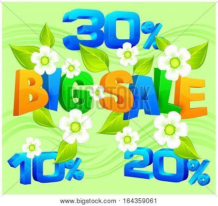 Big sale inscription on spring background vector illustration