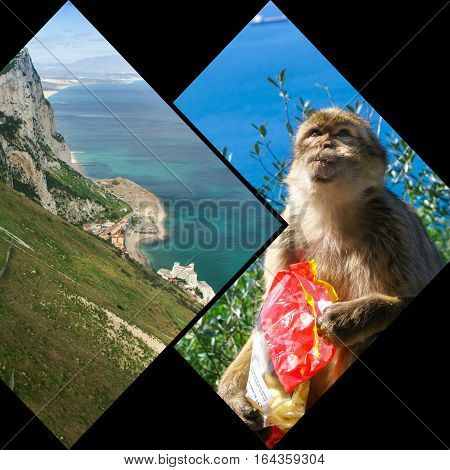 Collage of Gibraltar Rock steep cliff by the Mediterranean Sea.