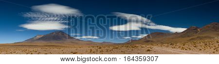 Panorama of a volcanic landscape in the Altiplano Bolivia