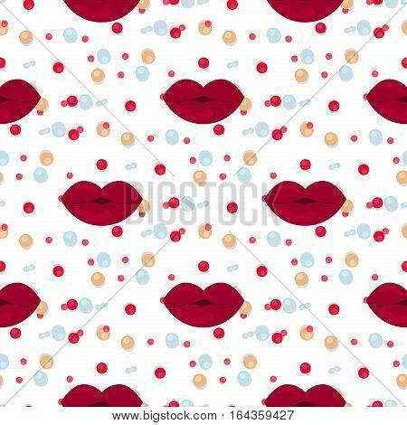 Vector seamless background lips prints. Valentine cosmetic desire lips pattern. Love female illustration beauty makeup fashion body part. Romance texture valentine paper art.