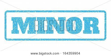 Light Blue rubber seal stamp with Minor text. Vector message inside rounded rectangular banner. Grunge design and scratched texture for watermark labels. Horisontal sign on a white background.