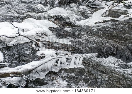 Winter Winding Creek And Snow Covered Landscape 2