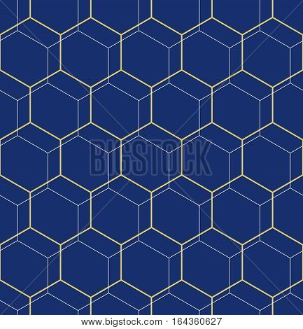 Geometric blue and golden abstract vector hexagonal background. Geometric modern ornament. Seamless modern pattern