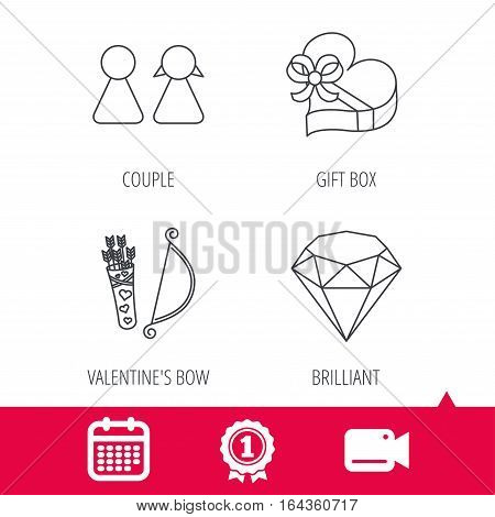 Achievement and video cam signs. Couple, brilliant and engagement gift box icons. Valentine amour arrows linear signs. Calendar icon. Vector