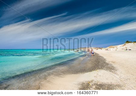 Elafonissi Lagoon, Crete Island, Greece. Elafonisi beach is one of the best beaches of Europe. There are pink and black sand.
