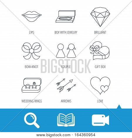 Love heart, gift box and wedding rings icons. Kiss lips and couple linear signs. Valentine amour arrows, brilliant flat line icons. Video cam, book and magnifier search icons. Vector